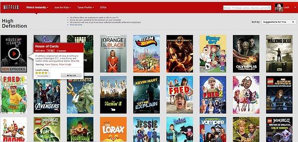 Náhodně vybraný seznam titulů, které jsou dostupné na Netflixu ve vysokém rozlišení.