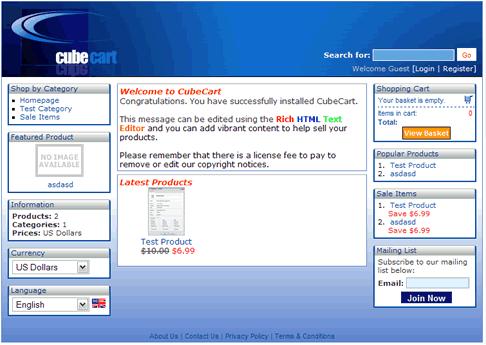 """CubeCart základní template v """"ceně"""""""