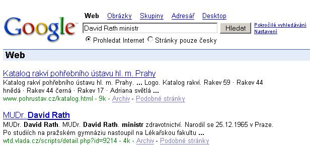 vyhledávání Google: David Rath ministr (31. března 2006)