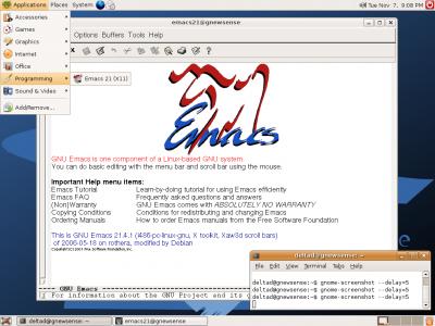 Emacs 21 je jedna z mála věcí, co objevíte na tomto CD oproti Ubuntu