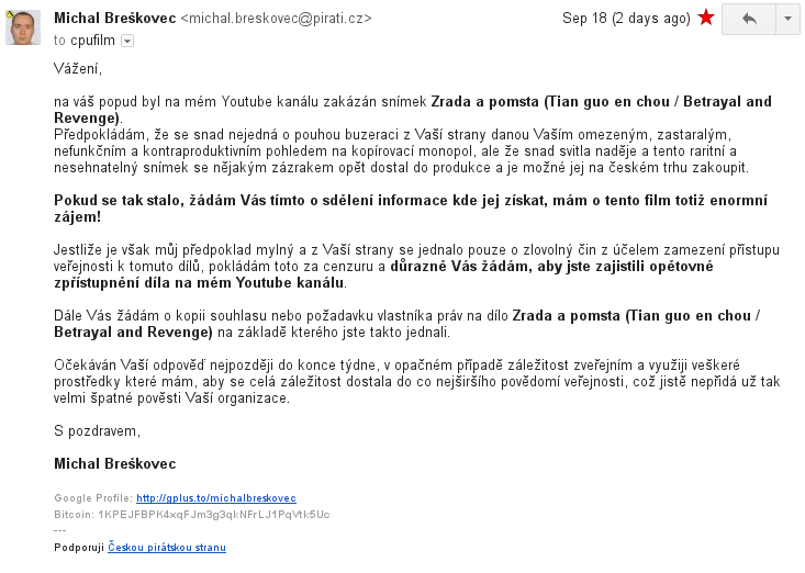 E-mail České protipirátské unii