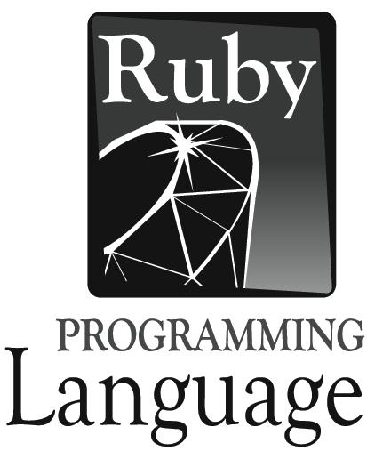 Černobílé logo Ruby