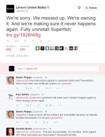 Lenovo to došlo a omlouvá se na všech stranách.