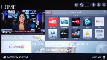Část s tzv. Smart TV má sice jasné členění, ale pohybovat se v nabídce můžete jen přes šipky na obrazovce, a to je poněkud komplikované.
