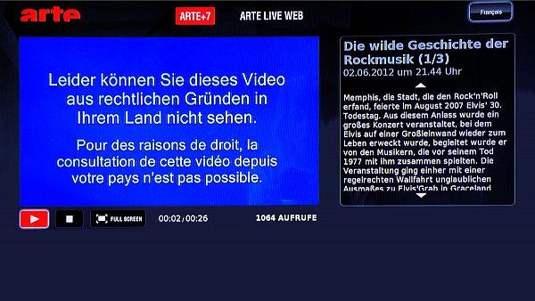 Některá videa jsou pro určité regiony v rámci HbbTV zablokována.