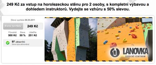 Nabídka lezení na Slevomatu představuje úhlědně zabalený balíček ...