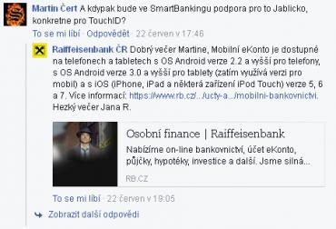 Reakce Raiffeisenbank na dotazy klientů (23. 6. 2015)