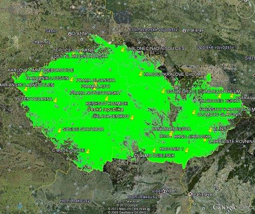 Mapa pokrytí signálem multiplexu 4 v internetovém atlasu Google Earth