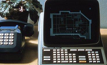 Ukázka Minitelu se zobrazenou mapou