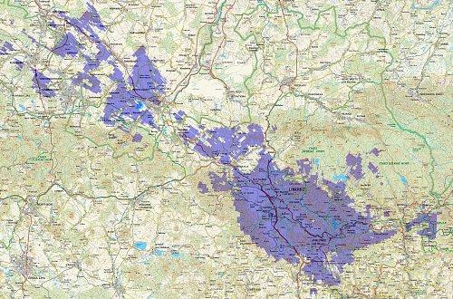 Pokrytí Liberecka signálem digitálního rozhlasu na Liberecku
