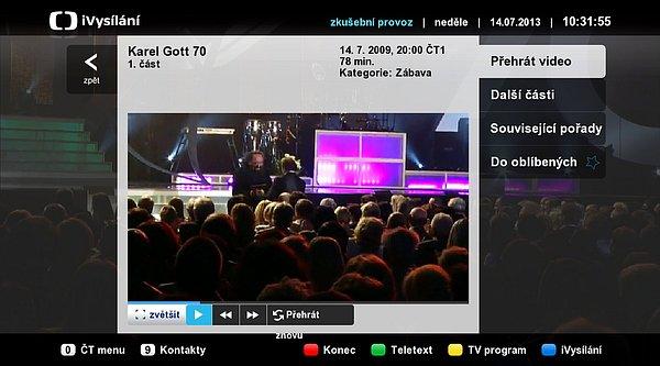 Ukázka Hbb TV z iVysílání ČT. Obraz si můžete zvětšit na celou plochu obrazovky, přetáčet, zastavit apod.