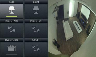 Na snímku vidíte rozsvícení osvětlení LED ve výklenku naproti vám a také otevřené dveře, což zajišťuje příkaz vlevo dole.