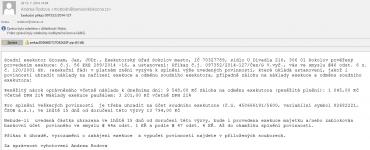 Příklad podvodného e-mailu obsahujícího virus