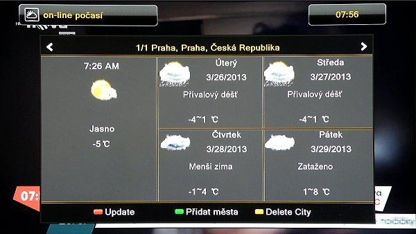 Počasí v různých částech světa s předpovědí na další čtyři dny. Města přidáváme do seznamu stiskem zeleného tlačítka