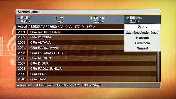 Modrým tlačítkem editujeme jednotlivé kanály: Zamykat, nastavit Hlasitost, Přesunout, nebo Smazat.