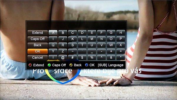 Virtuální klávesnice, s jejíž pomocí například vkládáme nové adresy, nebo vyhledáváme RSS zprávy