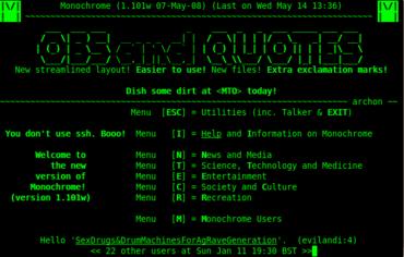 Ukázka úvodní obrazovky BBS