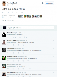 Andrej Babiš v pátek na Twitteru vtipkoval.