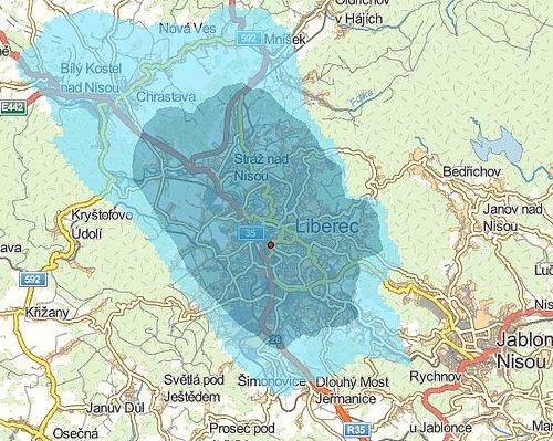 Předpokládané pokrytí signálem digitálního rozhlasu v Liberci vypočtené Českým telekomunikačním úřadem.