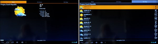 Dva pohledy na aplikaci počasí
