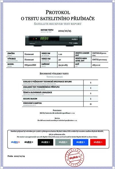 Certifikát, který udělil přijímači satelitní operátor Skylink