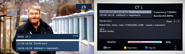 Informační okno se objevuje při přepnutí na jiný kanál, nebo jej zobrazíme tlačítkem INFO. Opětovným stiskem zobrazíme další okno s podrobnostmi (obrázek vpravo).