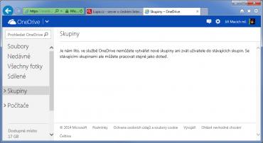 OneDrive již neumožňuje vytvořit novou uživatelskou skupinu anebo přizvat nové uživatele do stávající skupiny.