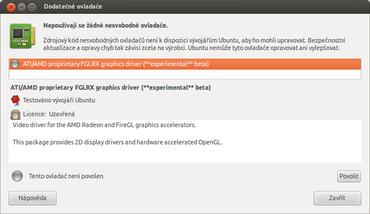 Začátečníci použijí ovladače, které jim nabídne samotná distribuce. V tomto případě Ubuntu