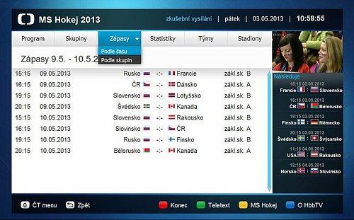 Náhled aplikace, kterou Česká televize připravila speciálně k letošnímu MS v hokeji.
