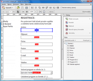 Ukázka tvorby pozvánky s registračním formulářem v Adobe Acrobat X Pro