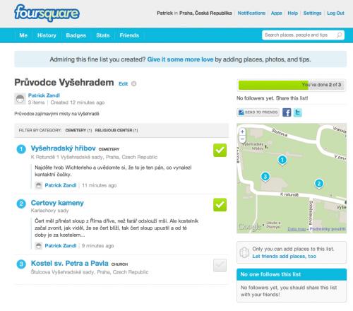 Seznam zajímavých míst na Vyšehradě ve Foursquare. Ještě to chce doplnit jej. Věděli jste, že na Vyšehradě je sedm kostelů?