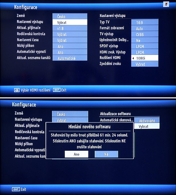 Pokud je k dispozici nový firmware, zahájíte jeho stahování potvrzením tlačítka ANO.