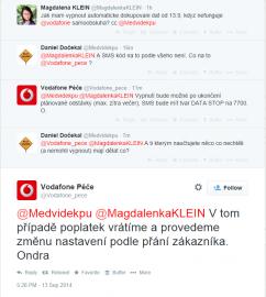 Příslib Vodafone na Twitteru