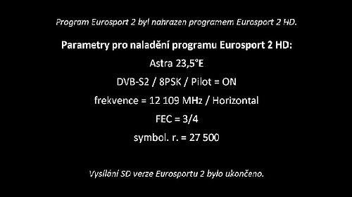 Statická obrazovka upozorňující na konec distribuce SD verze Eurosportu 2
