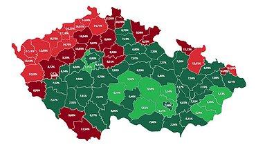 Rozložení schopnosti splácet podle jednotlivých okresů.