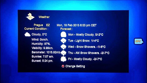 Takto vypadá okno s předpovědí počasí na několik dnů dopředu. Stačí si zvolit město