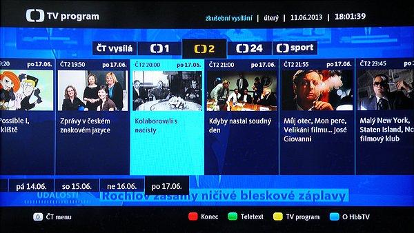 Připojením k internetu získáte nejen možnost prohlížení internetových stránek, ale také možnost příjmu hybridní televize HbbTV. Hybridní vysílání již mimo naší veřejnoprávní televizi používá také poskytovatel UPC (kabelová TV) a mnoho zahraničních stanic, hlavně německých na pozici Astry 19.2° východně.
