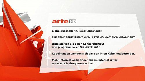 Nekódovaný německo-francouzský kanál Arte HD upozorňuje diváky na nutnost přeladění satelitního vysílání.