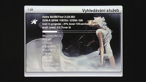 Vyhledávání služeb – satelit DVB-S