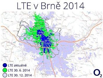 Plán pokrytí signálem LTE v Brně a okolí do konce letošního roku.