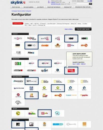 Zájemci o služby Skylinku si budou moci sestavit balíček podle svých představ. Web jim pak nabídne programovou nabídku, která jim bude nejvíce odpovídat.
