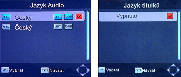 Jazyk audio stopy (modré tlačítko) a titulků (žluté tlačítko) můžeme nastavit přímo dálkovým ovládáním