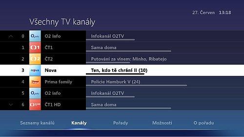 Nová podoba elektronického programového průvodce, který je dostupný ve službě O2TV