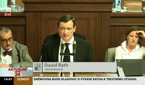 David Rath dnes vystoupil v Poslanecké sněmovně.