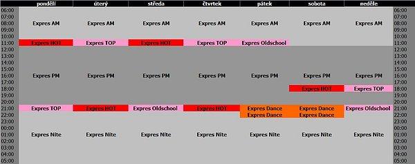 Programové schéma hudební stanice Óčko Expres
