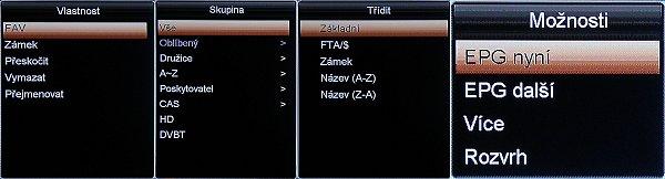 K editaci programů a dalším nastavením můžete použít tyto rozbalovací okna.