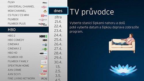 Úvodní stránka televizního programu v kabelové síti operátora UPC.