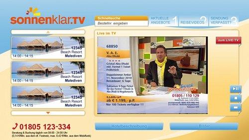 Takto vypadá aplikace HbbTV od kanálu Sonnenklar TV.