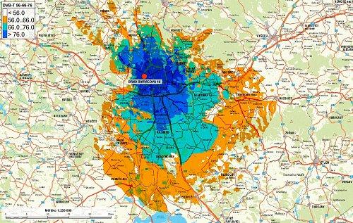 Mapa pokrytí multiplexu 4 z vysílače Barvičova