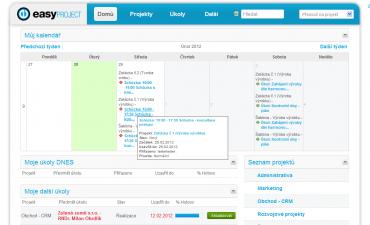Přehledová stránka Easy Projectu – schůzky, úkoly  na nejbližší dny, seznam projektů